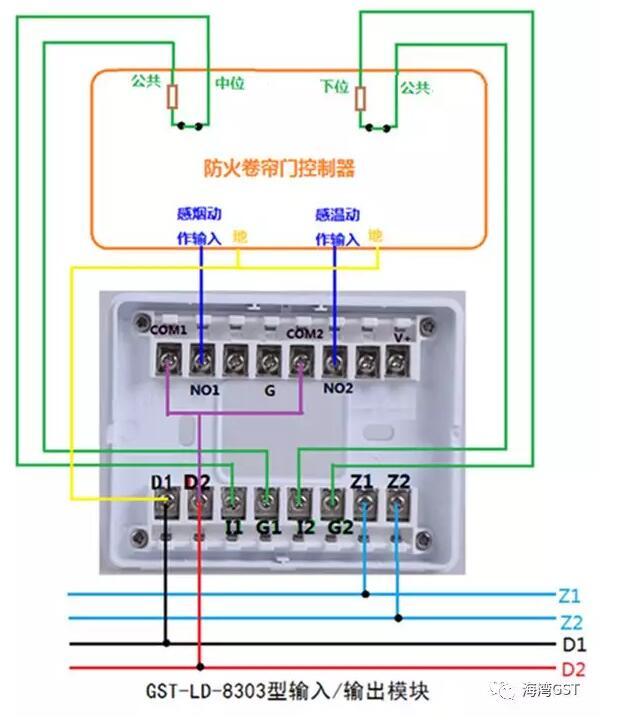 8303模块采用有源输出方式,输入端为无源常闭触点的接线方法: