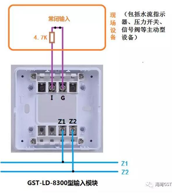 8300模块与具有无源常闭触点的现场设备接线方法: