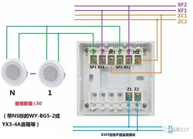 8305扬声器监视模块(两线制广播模块,可检测扬声器丢失)接线方法: