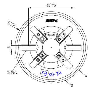 JTY-GM-GSTN9811(Ex)/T防爆点型光电感烟火灾探测器底座示意图