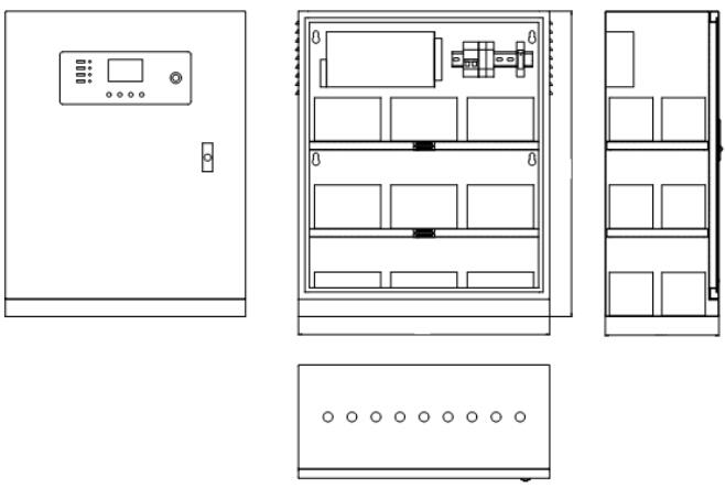 HW-DL-1KVA-N200消防应急灯具专用应急电源外形结构示意图