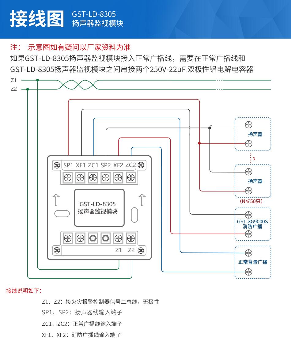 海湾GST-LD-8305扬声器监视模块接线图