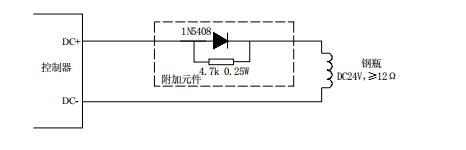 GST-QKP01气体灭火控制器驱动钢瓶电磁阀输出布线图