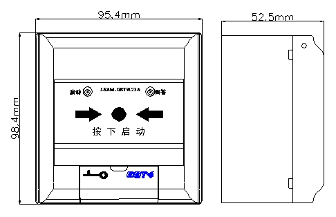 海湾J-SAM-GST9123A消火栓按钮外形示意图