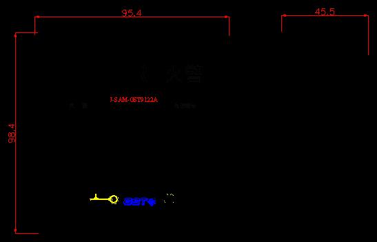 J-SAM-GST9122A手动火灾报警按钮外形示意图