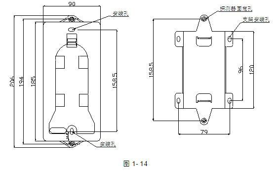海湾JTY-HM-GST102红外对射光束感烟探测器尺寸示意图